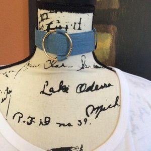 Blue Unfinished Denim Choker Necklace